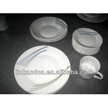 Haonai 20pcs simple decal brilliant porcelain dinnerware sets