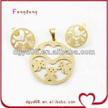 Gold sand blast cute bear stainless steel jewelry set