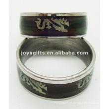 Moda anel de humor de aço inoxidável, anel de descoloração