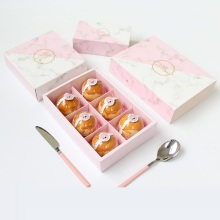 Pink marble pattern paper box for food