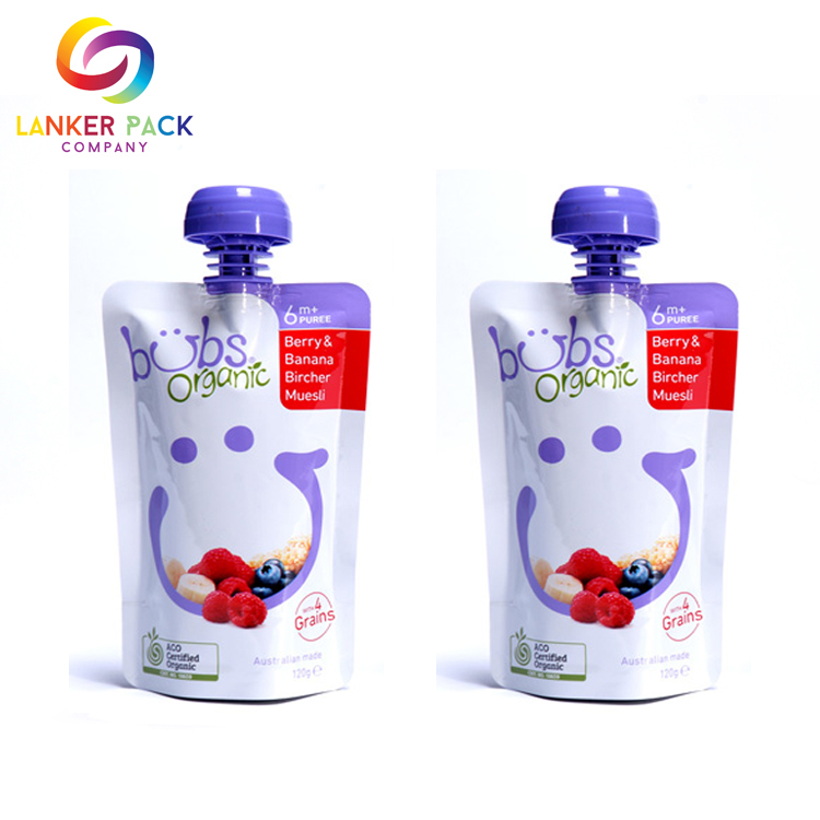 Food Grade Organic Baby Food Pouches With Spout