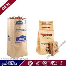 Wholesale Biodegradable Kraft Paper Agriculture Drawstring Fertilizer Flexo Printing Lawn& Garden Waste Bag Paper Leaf Bags