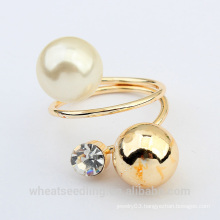 vogue metal ball pearl ring for women made in China