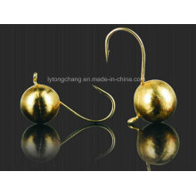 Round Ball Tungsten Ice Jig in Gold Color for Fishing
