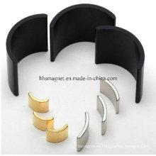 Imanes de neodimio, forma de segmento de arco para el motor con chapado personalizado
