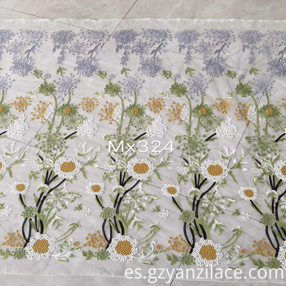 Sunflower Lace Embroidery Fabirc for clothing