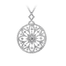 925 Silver Jewelry Pave Silver Mosaic Dream Pendant with CZ
