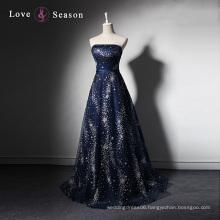 LSQ003 Dark blue strapless sheath latest dress designs photos with patterns beaded long evening dress