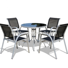 New design outdoor furniture garden aluminum frame teslin fabric dining sets chair and table