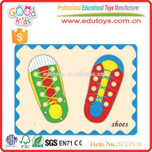 montessori preschool educational kids diy puzzle shoes wooden toys