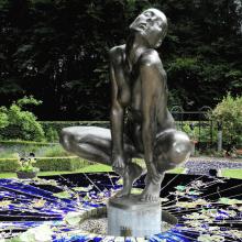 theme park sculpture metal craft nude woman bronze sculpture