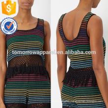 Rainbow Stripe Woven Fringed Hem Top Manufacture Wholesale Fashion Women Apparel (TA4070B)