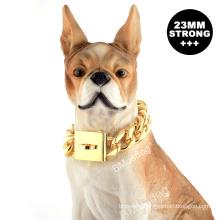 Custom Wholesale Gold Chain Dog Collar 23MM Heavy Duty Thick 18K Cuban Chain Metal Pet Collars For Dog Training Collar