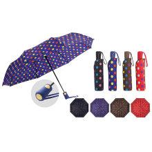 3 Folding Auto Open Rain Umbrella for Lady/Fashion Multicolor Umbrella with Dots Printing