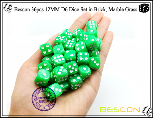Bescon 36pcs 12MM D6 Dice Set in Brick, Marble Grass-4