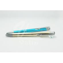 Promoção alumínio clique caneta com corda de prata