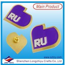 Unique Design Gold Metal Label Badge with Purple Enamel (LZY-10000379)