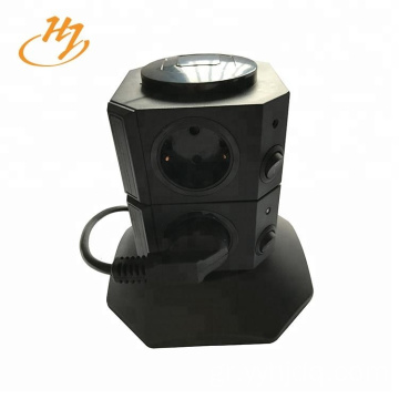 Black 2-USB 2-Layers Tower Extension Socket