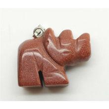 Pendentif en pierre dorée en forme de rhinocéros