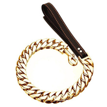 Custom 32MM Dog Leashes Dog Chain Collars for Large Dogs Stainless Steel Pet Leash Chain with Leather Padded Handle