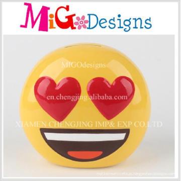 Estilo único moda cerâmica sorriso rosto em forma de banco de dinheiro