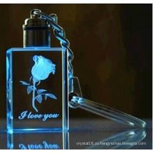 3D лазерная гравировка логотип Кристалл брелок с свет