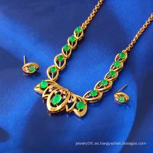 Joyería libre del jade del color del oro de la muestra 24k de la joyería fijada (61408)