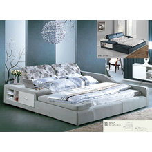 Fabric Bed, Modern Bed with Bed Side Shelf, King Size Bed (L3018C)