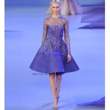 2017 Celebrity Gowns Prom Kleider Scoop Hals lange Ärmel Appliques Lace Short Style