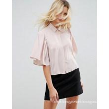 Ladies Collar Shirt with Loose Short Sleeve Shirt