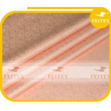 FEITEX peach color African jacquard fabric dyed 100% cotton guinea brocade damask shadda