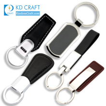 Factory price wholesales custom blank metal branded leather keychain for promotion