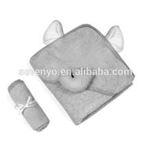 Ensemble 100% fibre de bambou, serviette de bain à capuchon de luxe et gant de toilette | Conception d'éléphant gris | Serviette de Bébé en Bambou Extra Douce