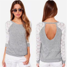 Korean Style Slim Fitting Lace Fashion Ladies T-Shirt (50152)