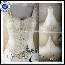 RSW579 Embroidery Designs For Crystal Beaded Long Cathedral/ Royal Train Champagne Colored Wedding Dresses