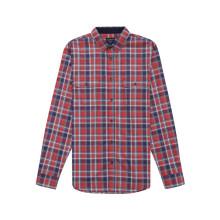 Chemise à manches longues à carreaux rouges pour homme
