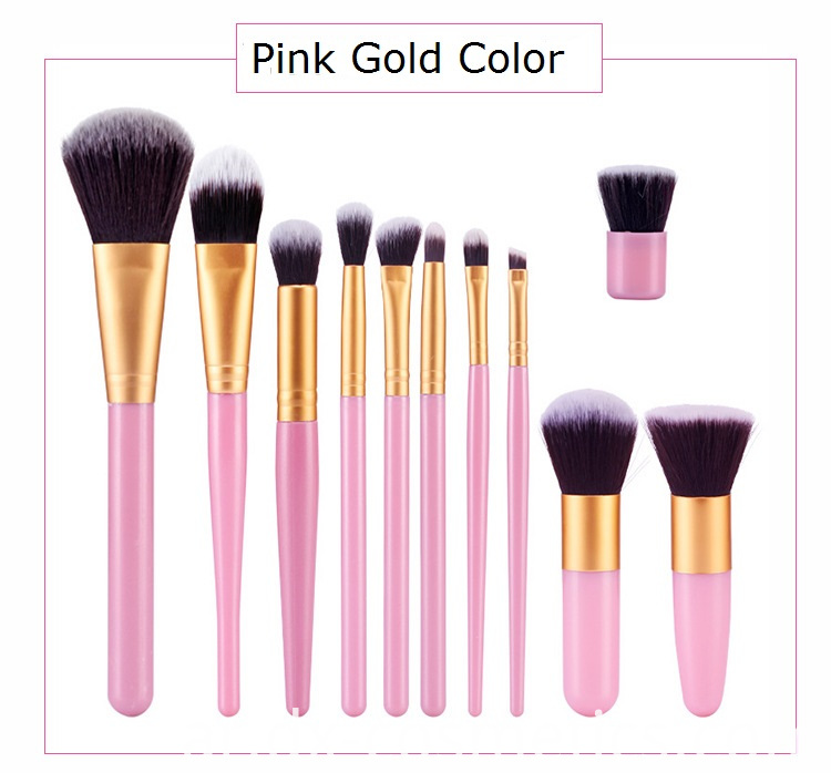 Pink Gold Makeup Brush Set Color
