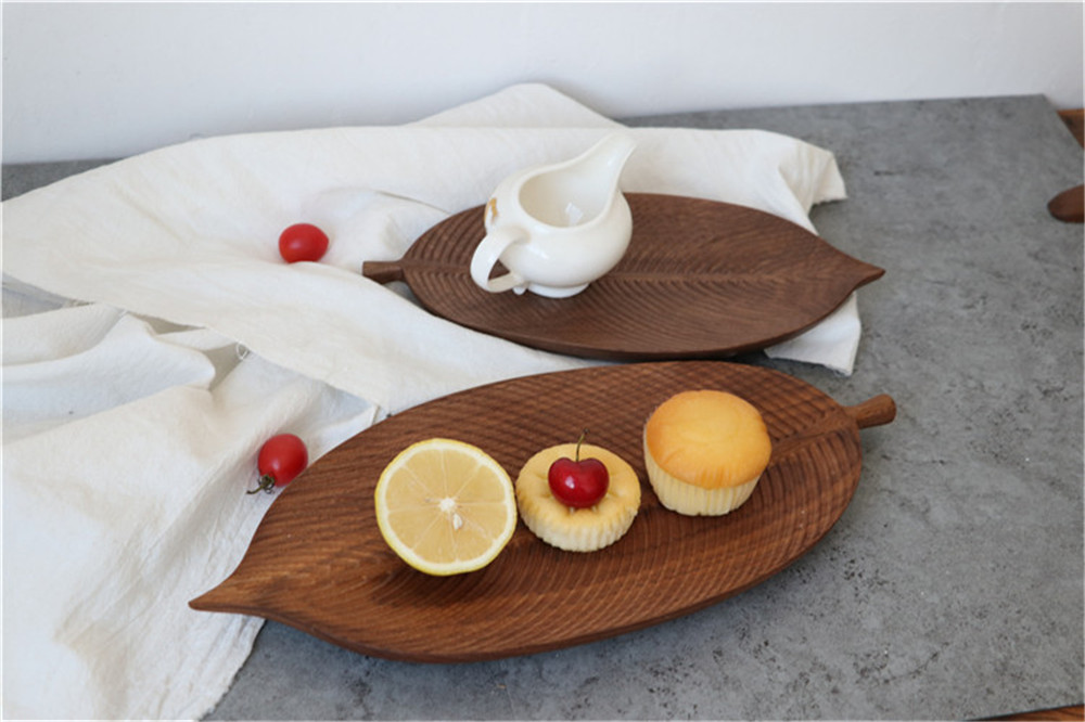 leaf shape available wooden dish