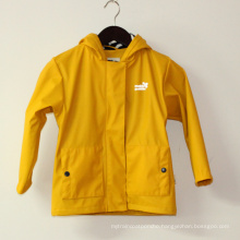 Yellow Hooded Reflective PU Rain Jacket/Raincoat