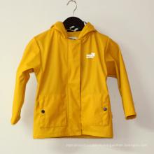Желтый светоотражающие ПУ с капюшоном дождя куртка/дождевик