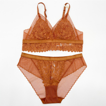 Frauen Flower Lace Padded Bralette Höschenset