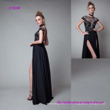 Das High Split Front bodenlangen schwarzen Abendkleid