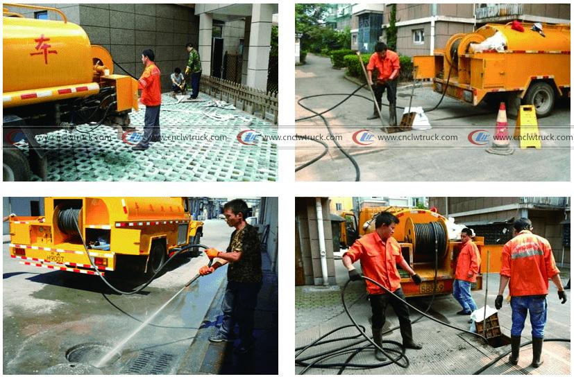 High pressure washing truck working situation-logo