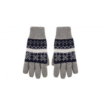 Boy's Knitted Snowflake Jacquard Print Full Fingers Gloves