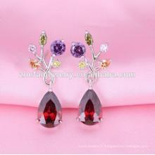 wholesalewomen mode boucle d'oreille conceptions vintage boucle d'oreille en forme de larme rubis