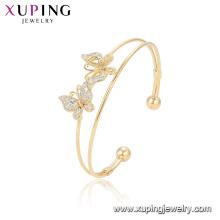 52144 xuping горячей продажи простой стиль красивая форма бабочки позолоченные женщины мода браслет