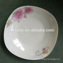 square ceramic plates with golden flower