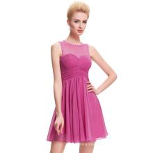 Starzz Sleeveless See Through Back Deep Pink Short Chiffon Cocktail Dress 2017 ST000069-1