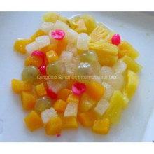 Ensalada de fruta de cóctel de frutas en estaño, tarro, taza de plástico de embalaje