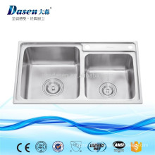 Brush nickel double bowl table top high end Chinese kitchen sink